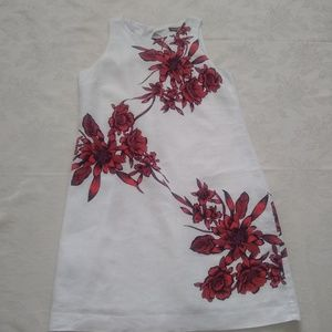 Tommy Bahama red flowers linen dress